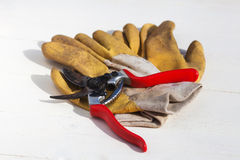 Secateurs and garden gloves Royalty Free Stock Photography