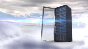 Open server tower on cloudy sky background stock footage