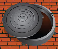 Open sewer hatch. Manhole cover on the brick pavement. Vector illustration vector illustration