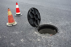 Open Sewer Manhole Stock Photos