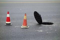Open sewer manhole Stock Image