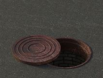 An open sewer. Old rusty hatch cover. Sewerage repair. 3D illustration. royalty free illustration