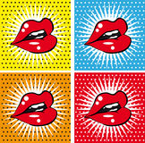 Open Sexy wet  red lips with teeth pop art set backgrounds. 4 pics set Royalty Free Stock Photo