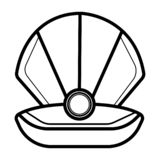 Open shell met parelspictogram royalty-vrije illustratie