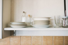 Open shelving in kitchen Stock Image