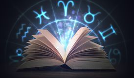 Open shining astrology book with zodiac signs above. 3D rendered illustration.  Stock Images