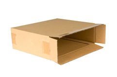 Open shipping cardboard box isolated Stock Photo