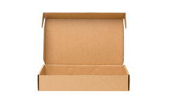 Open shipping cardboard box isolated Royalty Free Stock Photo