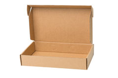 Open shipping cardboard box isolated Royalty Free Stock Image