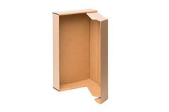Open shipping cardboard box isolated Royalty Free Stock Photos