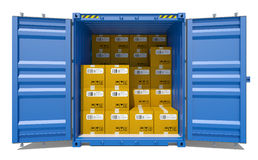 Open shipping container with cardboard boxes Stock Photo