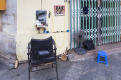 Open shop of a hairdresser in Hanoi, Vietnam Stock Images