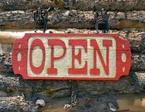Open sign. Made of wood OPeN sign stock photos