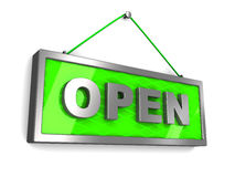 Open sign. 3d illustration of green open sign over white backgtround Stock Photography