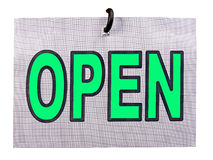Open sign. Open board hanging on the hook Royalty Free Stock Photos