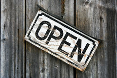 Open sign. On a wood Royalty Free Stock Photography