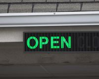 OPen Sign. Closeup of bank drive thru open sign Royalty Free Stock Photography
