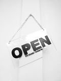 Open sign. An informative sign says open Stock Images