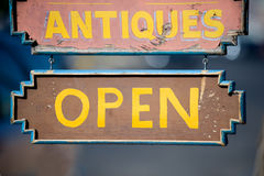 Open sign of antiques store. Antiques and gift shop in Old Town Albuquerque, New Mexico Royalty Free Stock Images