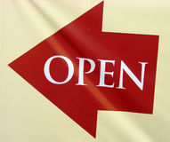 Open sign with arrow Royalty Free Stock Photo
