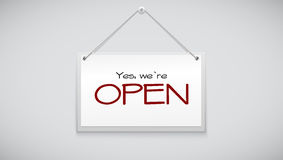 Open sign board hanging on the white wall. Vector illustration. Sign with information welcoming shop visitors Stock Image