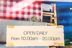 Open sign in clothing store. Bali island royalty free stock photography