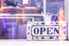Open sign in clothing store. Bali island royalty free stock photos