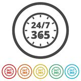 Open 24/7 - 365, 24/7 365, 24/7 365 sign, 6 Colors Included. Simple vector icons set Stock Image