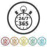 Open 24/7 - 365, 24/7 365, 24/7 365 sign, 6 Colors Included. Simple vector icons set Royalty Free Stock Images