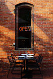 Open Sign Dining Outdoors Stock Image
