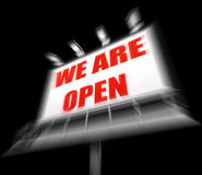 We are Open Sign Displays Grand Opening and Inauguration Royalty Free Stock Photos