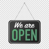 we are open sign for door posting stock illustration