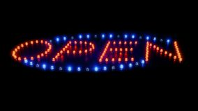 Open sign flashing overhead. Neon red and blue open sign with flashing lights stock footage