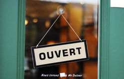 The Open sign in French. Concepts of business Stock Images