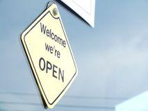 Open sign at front store Stock Photography
