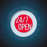 Open 247 sign. Full time service store icon Royalty Free Stock Photo