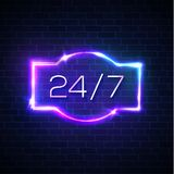 Open sign 24 7 hours. Neon round the clock frame. Open sign 24 7 hours. Neon light round the clock store frame on brick wall background. 24 Hours night club or Stock Images