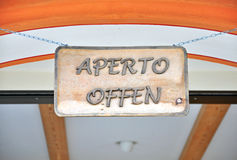 Open sign in italian street cafe Royalty Free Stock Photo