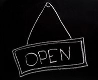 Open sign made on a blackboard Royalty Free Stock Photo