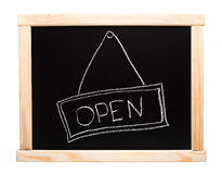 Open sign made on a blackboard Royalty Free Stock Image