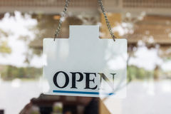 Open sign at the mirror door Royalty Free Stock Images