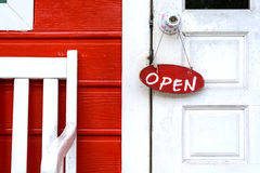 Open sign on old wooden door Stock Photography