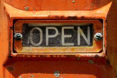 OPEN Sign On Gas Valve Royalty Free Stock Photo
