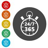 Open 24/7 - 365, 24/7 365, 24/7 365 sign. Simple vector icons, vector illustration color circle Royalty Free Stock Image