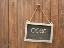 Open sign on real wood background Stock Photo