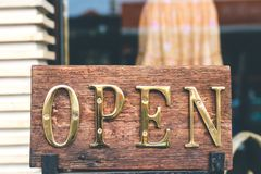 Open sign in the retail store. Bali island. Indonesia royalty free stock photography