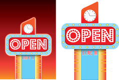 Open sign for roadside retro vintage diner style advertising. Lit up 1950s neon retro sign with a big flashing open sign, available as vector and jpeg Royalty Free Stock Photos