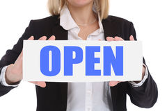 Open sign shop restaurant cafe business concept Royalty Free Stock Image