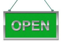 Open Sign Shows Grand Opening And Advertisement Stock Images