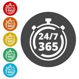 Open 24/7 - 365, 24/7 365, 24/7 365 sign. Simple  icons,  illustration color circle Royalty Free Stock Photography